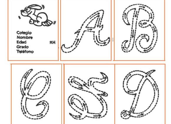 Abecedario en cursiva x 75 mayúsculas tamaño: 5.8x4.3 cm