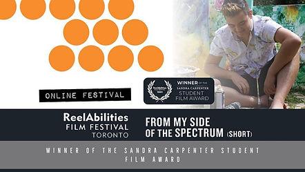 Reel Abilities Film Festival:  Winner of the Sandra Carpenter student film award