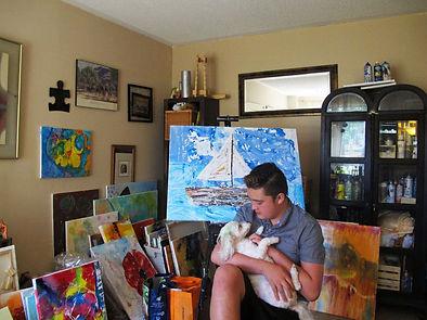 Artist Aiden Lee in his studio