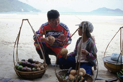 Buying the fruit from a local