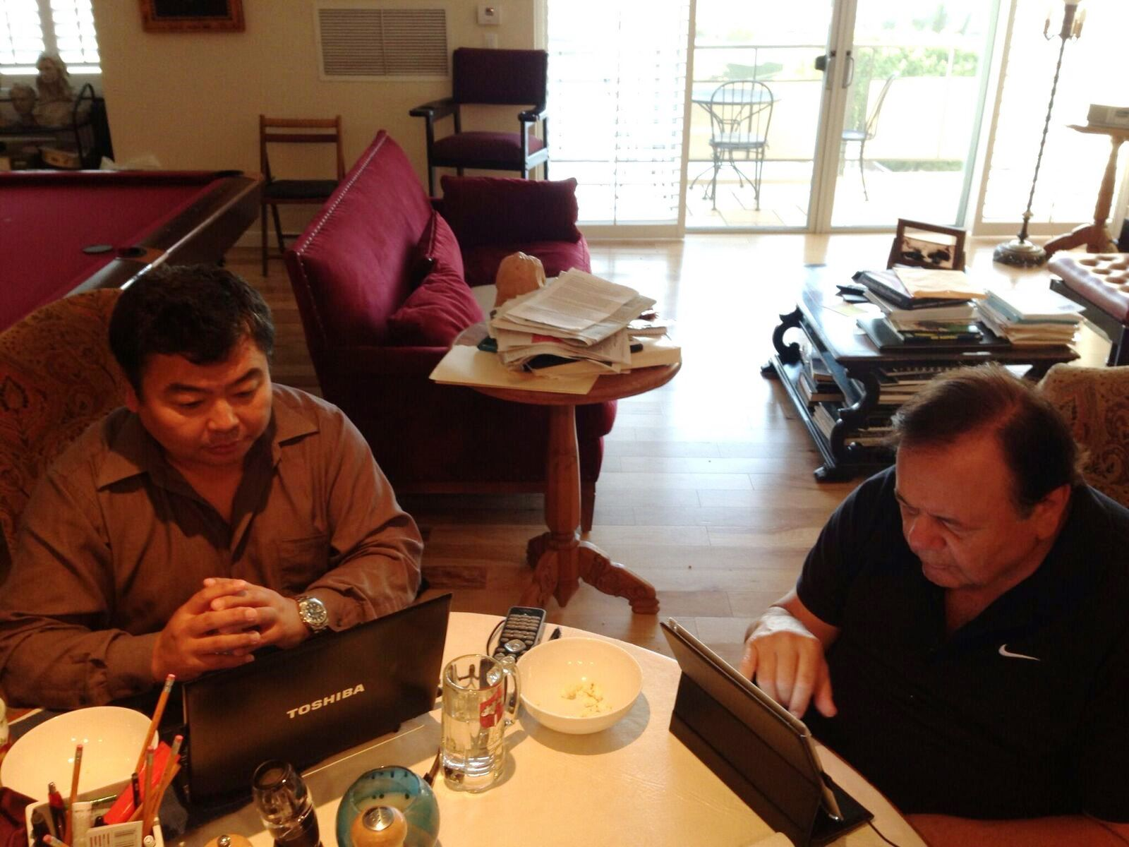 Paul Sorvino and I work on a script