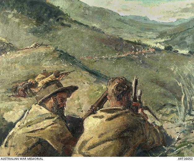Ambush at Nunamogue, Timor by Charles Bush.