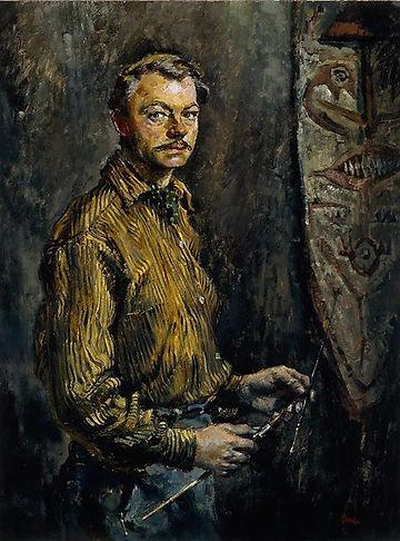 A self portrait of Lieutenant Charles Bush, official war artist of TimForce. c1957, oil on hardboard.