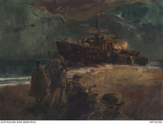 """HMAS """"Voyager"""" wrecked and burning at Betano Bay by Charles Bush"""