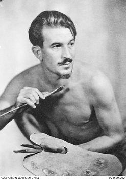 Studio portrait of B3/58, official war artist. Vaughan Murray Griffin, holding his palette and paint