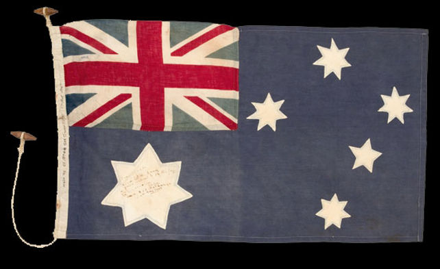 The first Australian flag flown in Singapore after the surrender of the Japanese in 1945.
