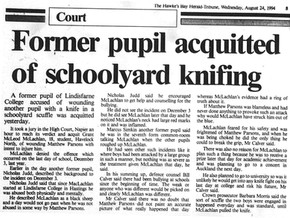 Former pupil acquitted of schoolyard knifing