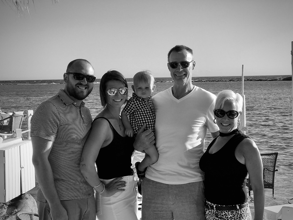 Joey Nickerson with is wife, Sharon, his daughter Hayley and her husband Isaac Brown and their son, Killian.