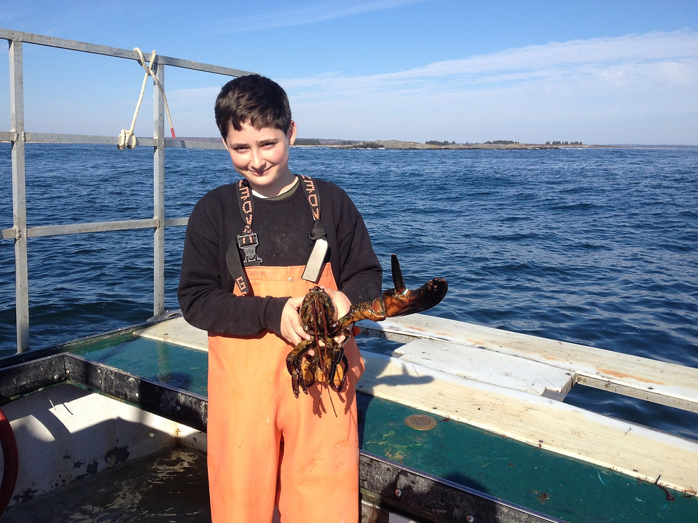 Tom's son, Tommy with a lobster in 2013.