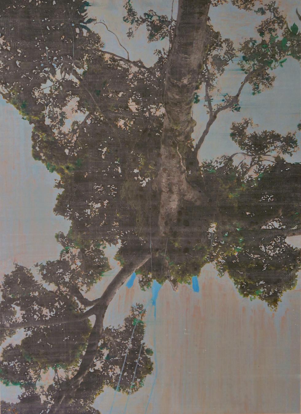 L'arbre monde (1), mixed media on vinyl, 140x110cms, 2020