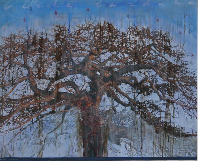 Tree of life (1) mixed media on paper, 110x90cms 2019