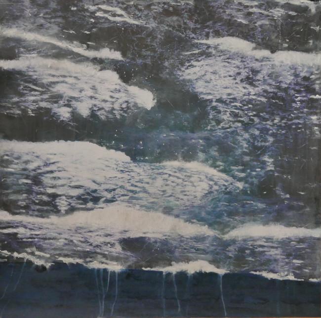 Attraversare (8), acrylic, ink, pigment on satin paper, 80x80cms, 2021