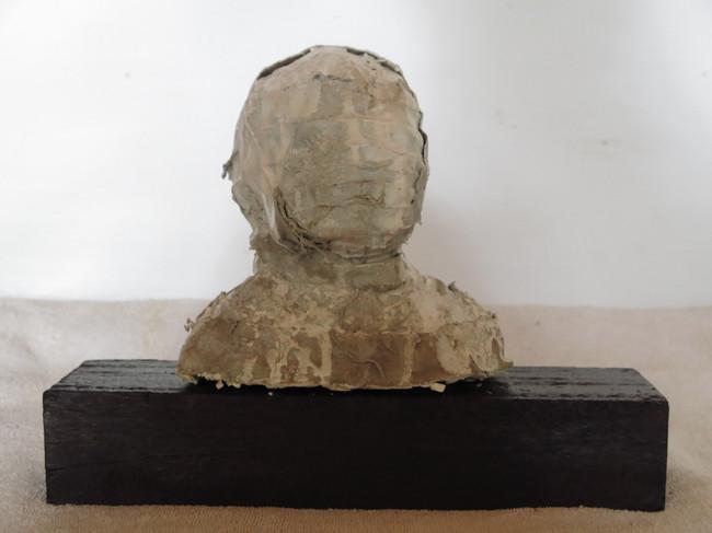 Caput Mortuum, wood+black soil+fabric, 60x18x30cms, 2013