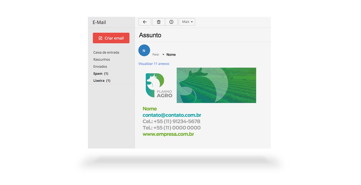 criação de assinatura de email para empresa de agro negócio