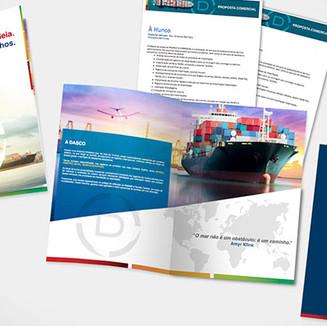Folder institucional para empresa de exportação e importação