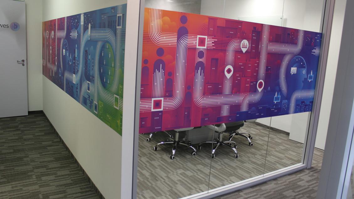Criação de identidade para sala de reunião de escritório