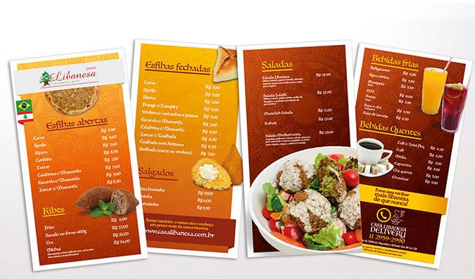Criação de cardápio para restaurante árabe