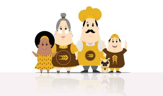 Personagens para rede de padarias | Pão To Go