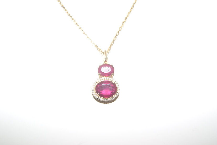 Collier pendentif or diamants rubis