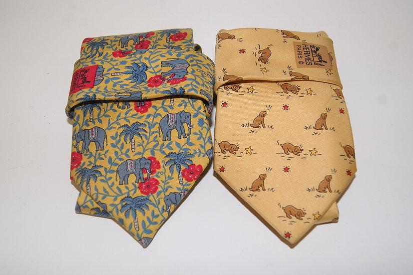 Lot de deux cravates Hermès
