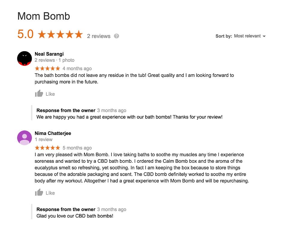 Mom Bomb Google Reviews