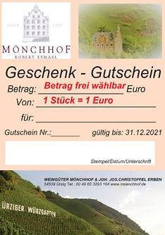 Geschenk - Gutschein, Weingüterr Mönchhof, J.J.Christoffel Erben, Robert Eymael, Ürzig, Mosel