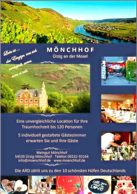 Standesamtliche Hochzeit auf dem Mönchhof in Ürzig an der Mosel jetzt direkt beim Winzer Philippe Conzen feiern. Heiraten wie ein TV-Star.