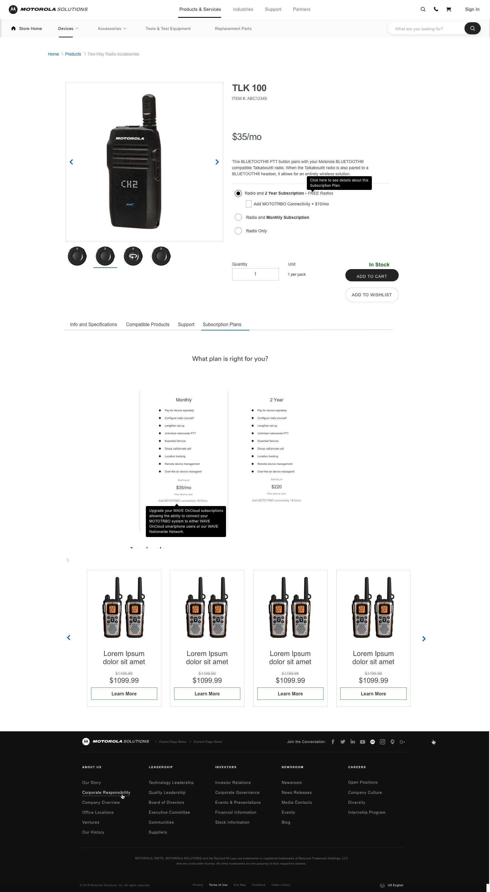 Radio Product Page