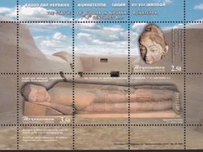 塔吉克斯坦国家文物博物馆的佛涅槃雕像 'Buddha in Nirvana' in National Museum of Tajikistan.