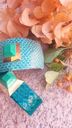 pyramid cuffs in aqua + emerald