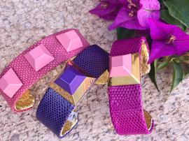 mini cuffs in pinks + purple