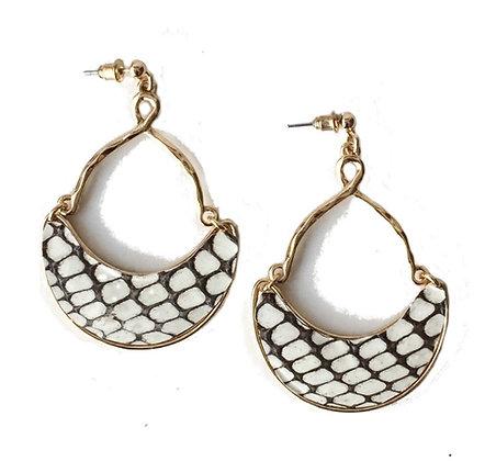 snakeskin half moon earrings