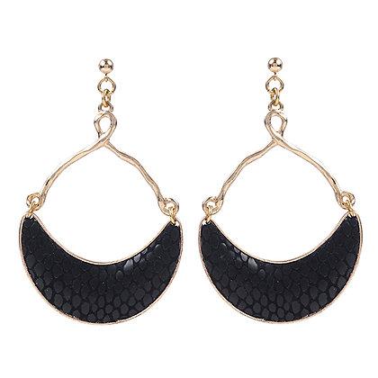 leather half moon earrings