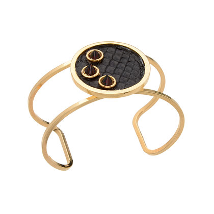 leather + opal circle citi cuff