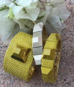 cuffs in yellow + sand