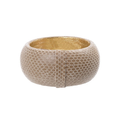 embossed leather bangle (large)