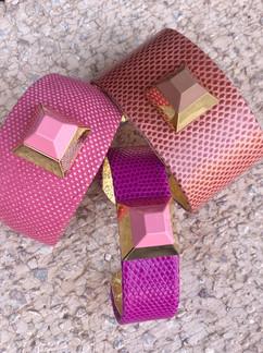 pyramid cuffs in pinks + burnt orange