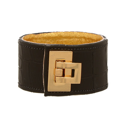 embossed leather flip lock cuff