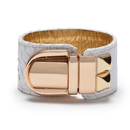 embossed leather studded lock cuff