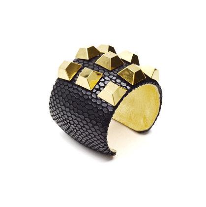 leather + pyramid cuff