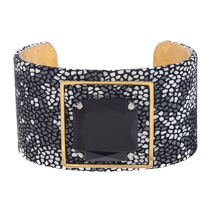embossed leather ultra glam cuff