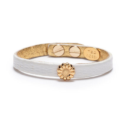 embossed leather flower bracelet