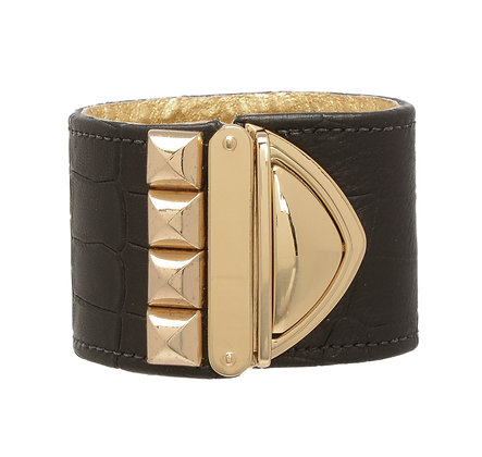 embossed leather studded XL lock cuff