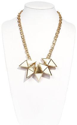 genuine lizard geometric plate necklace