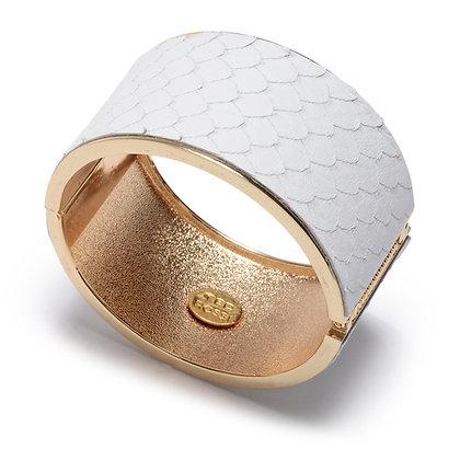 embossed leather hinge bracelet