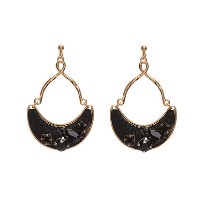 leather + bling half moon earrings