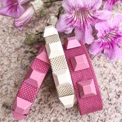 pyramid cuffs in pink + sand