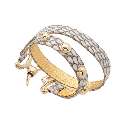 snakeskin studded double talon cuff