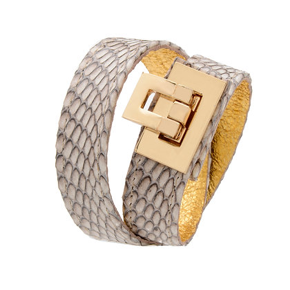 snakeskin double wrap lock cuff