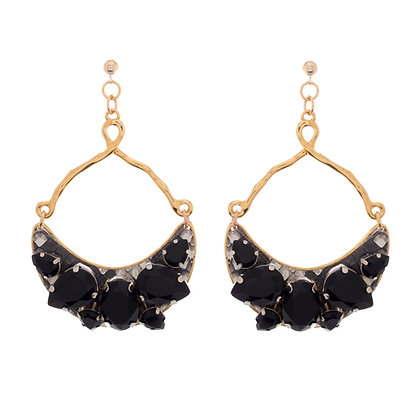 leather + bling half moon earrings